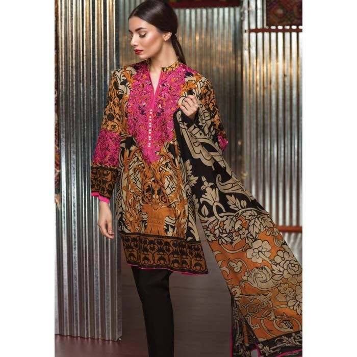 Cambric Black Embroidered Suit by Khaadi