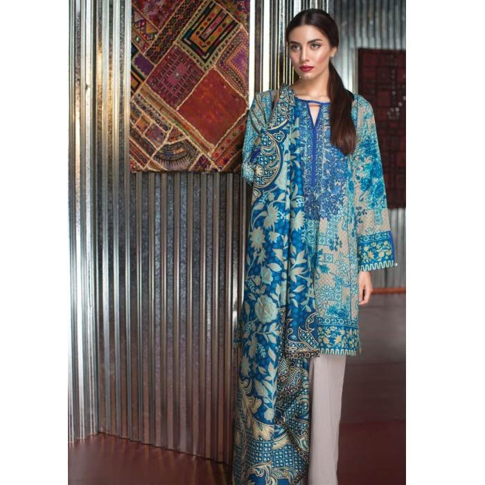 Blue Embroidered Cambric  Suit by Khaadi