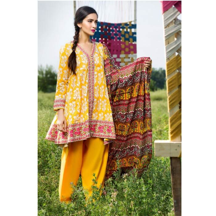 Yellow Printed Cambric Suit by Khaadi