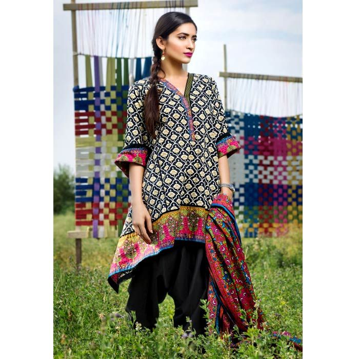 Black Printed Cambric Suit by Khaadi