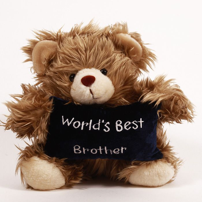 Teddy Holding Worlds Best Brother Cushion