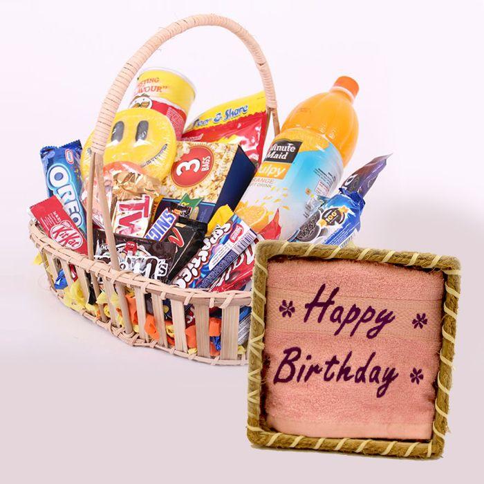 Birthday Gourmet Basket with Towel