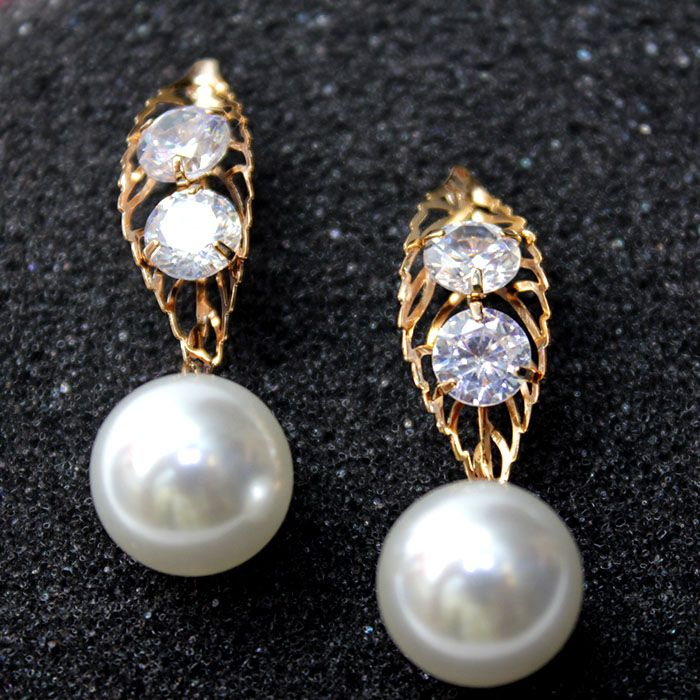 Stylish Leafy Pearl and Golden Earrings