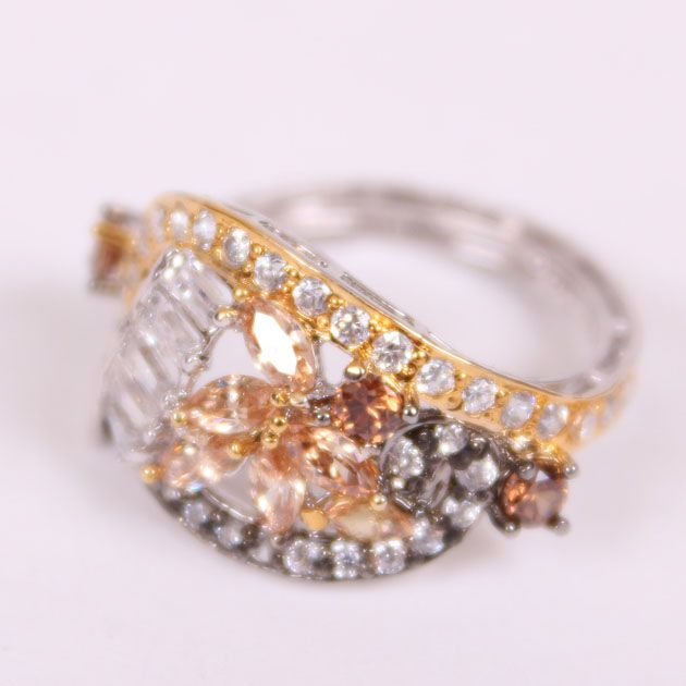 Floral Half Gold Plated Ring