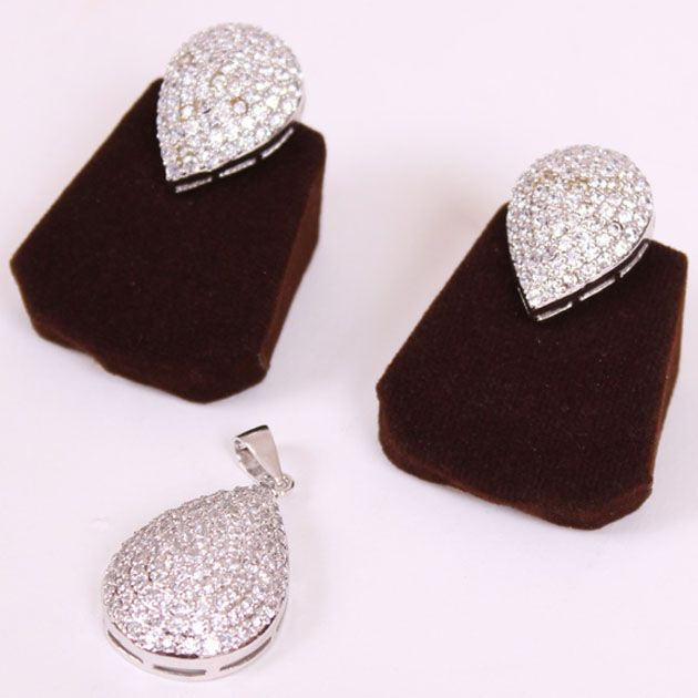 Zircon Studded Drop Shaped Pendant Set