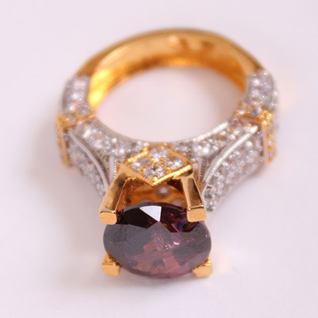 Purple Stone Half Gold Plate Ring