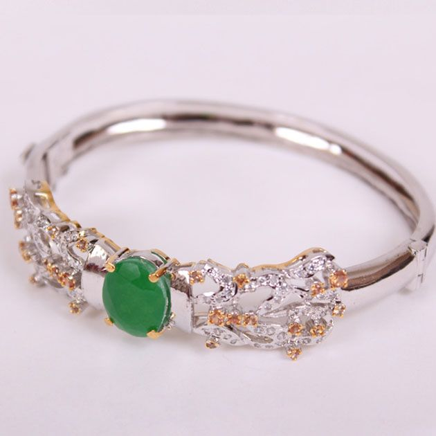 Silver Bracelet With Green Stone
