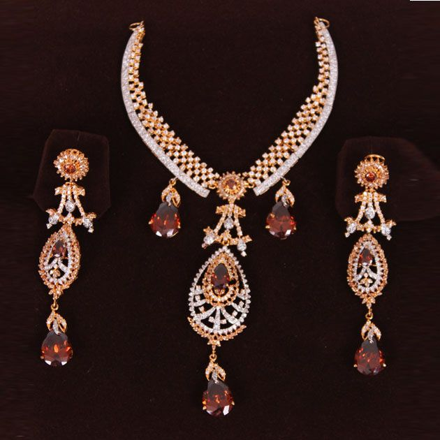 Silver Golden Set With Amber Stones