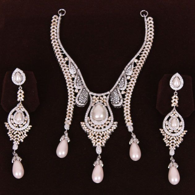 Silver Zircon And Pearl Set