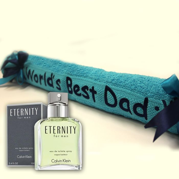 Worlds Best Dad Towel with Eternity Perfume