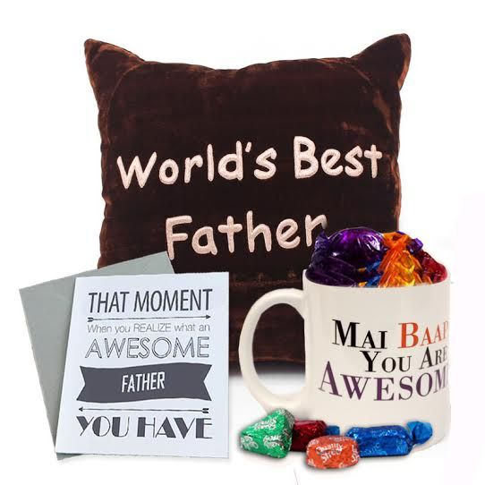 Cushion and Mai Baap Mug with Card