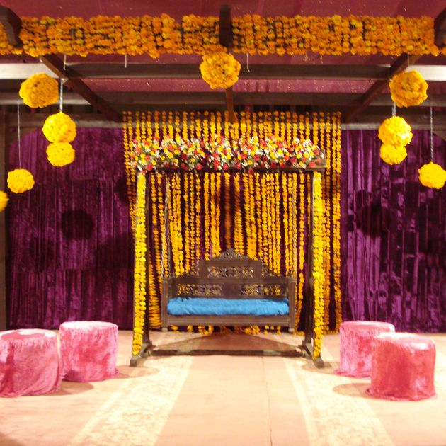 Yellow & Purple Mehndi Stage