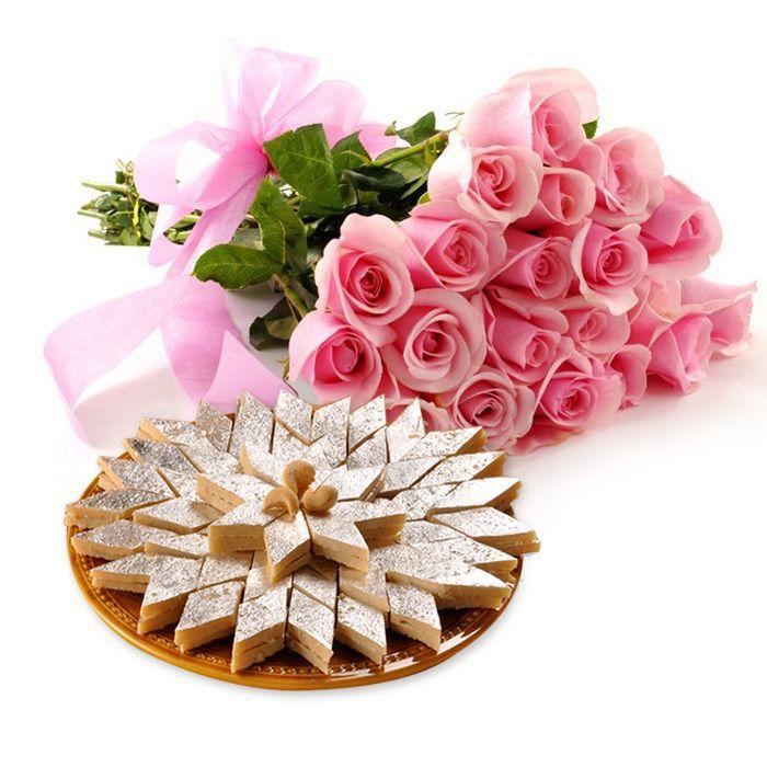 Kaju Ki Barfi with Imported Roses