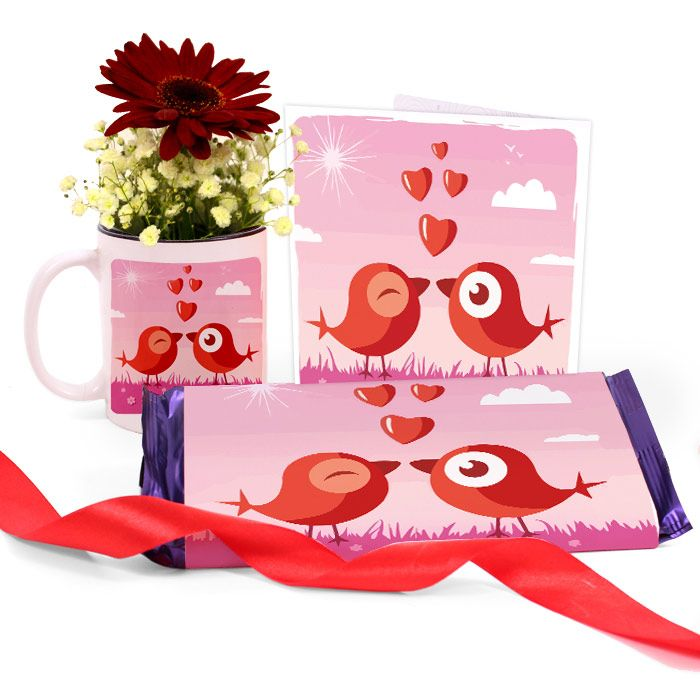 Love Birds Mug with Chocolate & Card