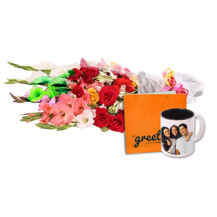 Picture Mug with Bouquet & Card