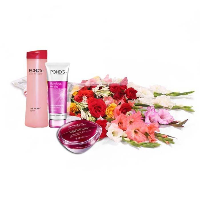Ponds Gift Box with Medium Bouquet