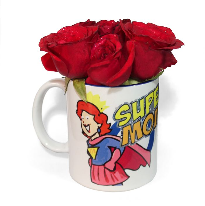 Super Mom Mug Filled With Roses