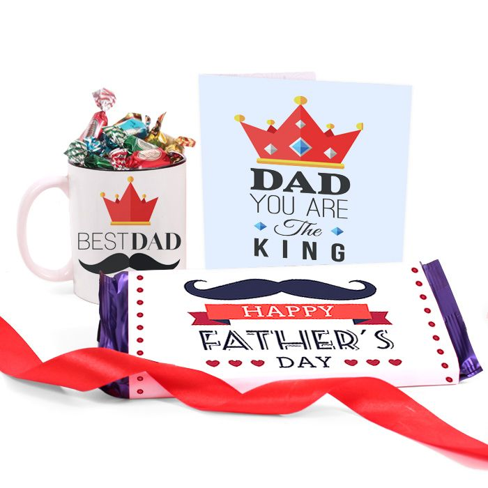 Best Dad Crown Mug with Chocolates & Cards