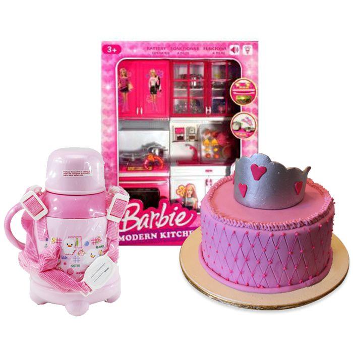 Barbie Kitchen Set With Princess Cake & Water