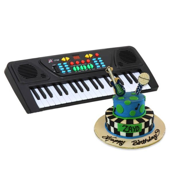 Musical Instrument Cake With Piano Keyboard