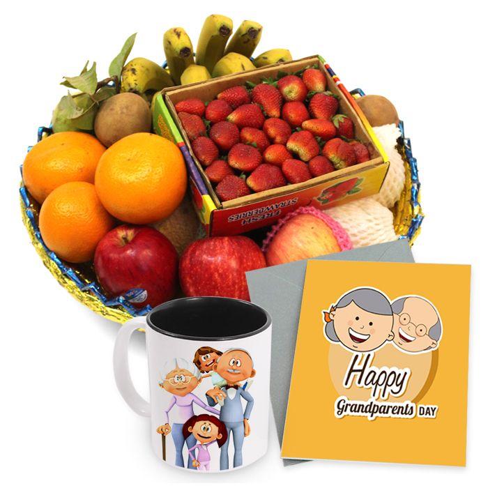 Fruit Basket With Mug & Card