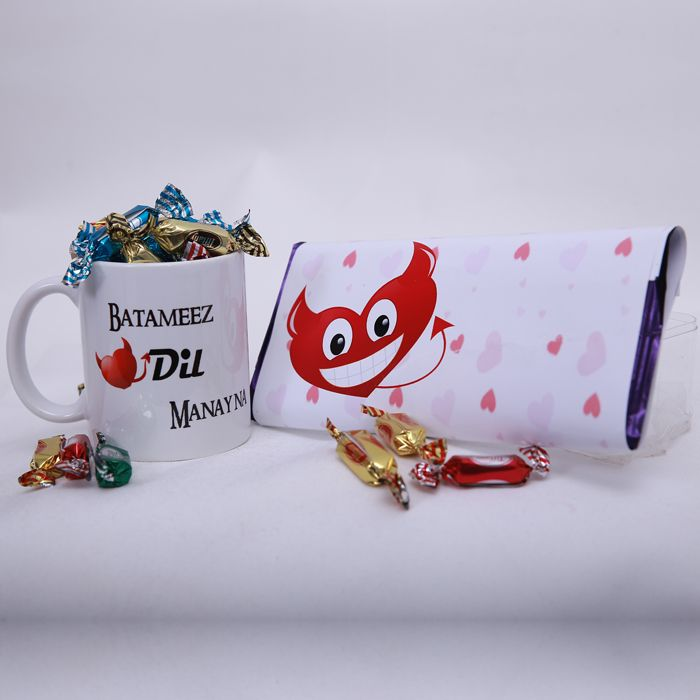 Batameez Dil Mug with candies and chocolate b