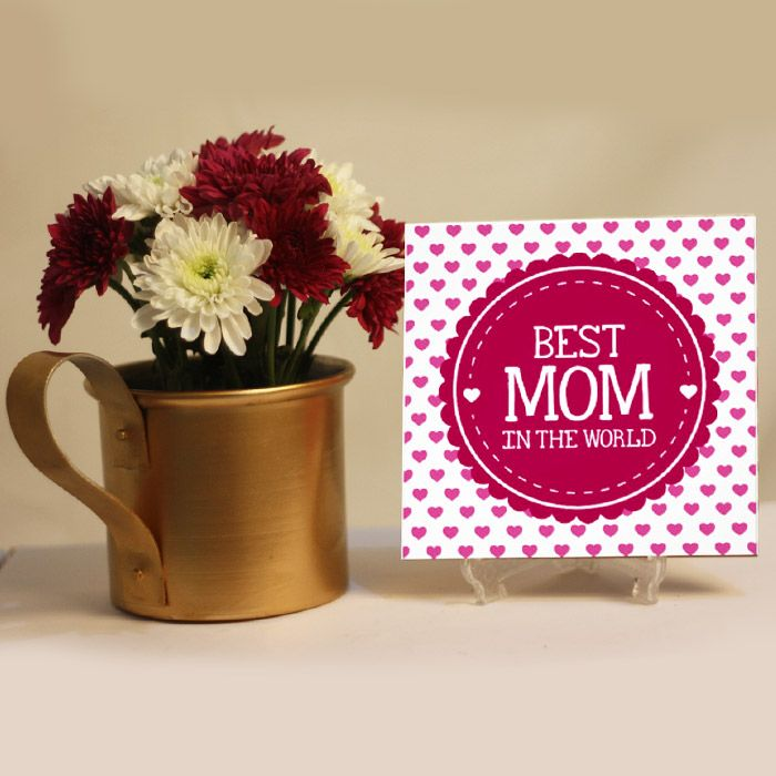 Best Mom Tile & Daisies