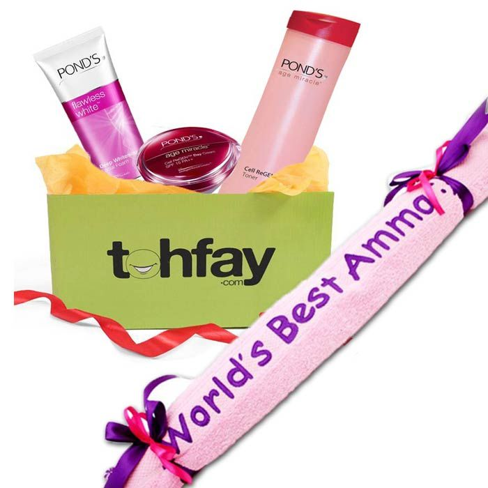 Beauty Gift Basket With Best Mom Towel