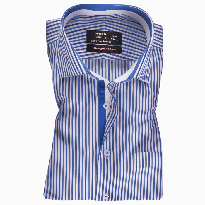 Formal Blue and White Striped Shirt