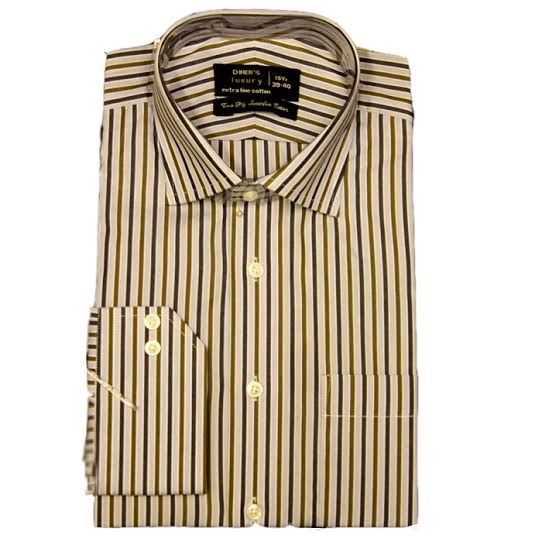 Formal Blue and Brown Striped Shirt