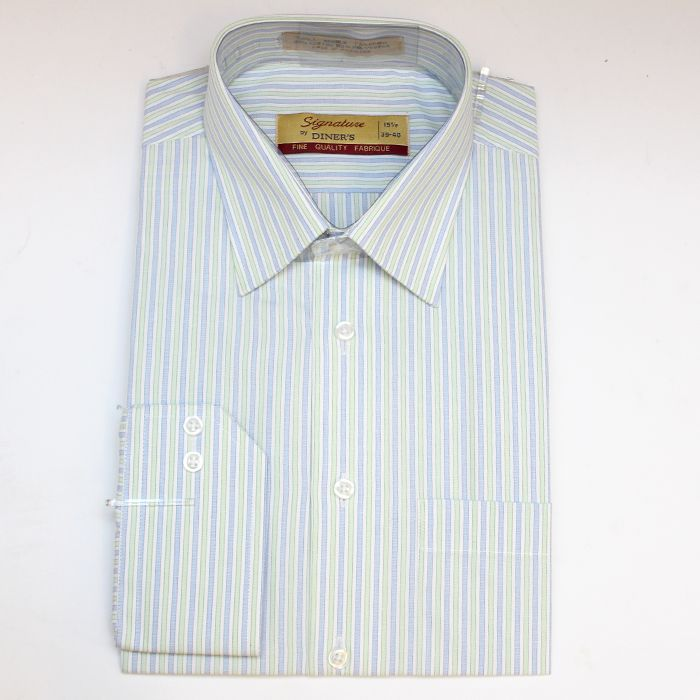 Formal L-Green Striped Shirt