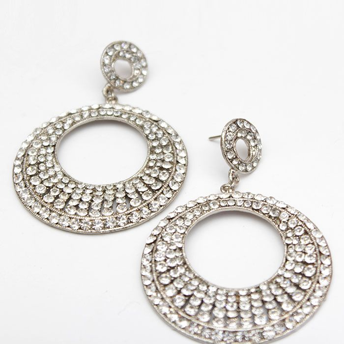 Round Silver Studded Earrings