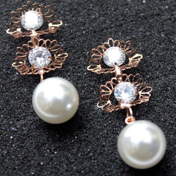 Dual Gold Floral Pearl Earrings