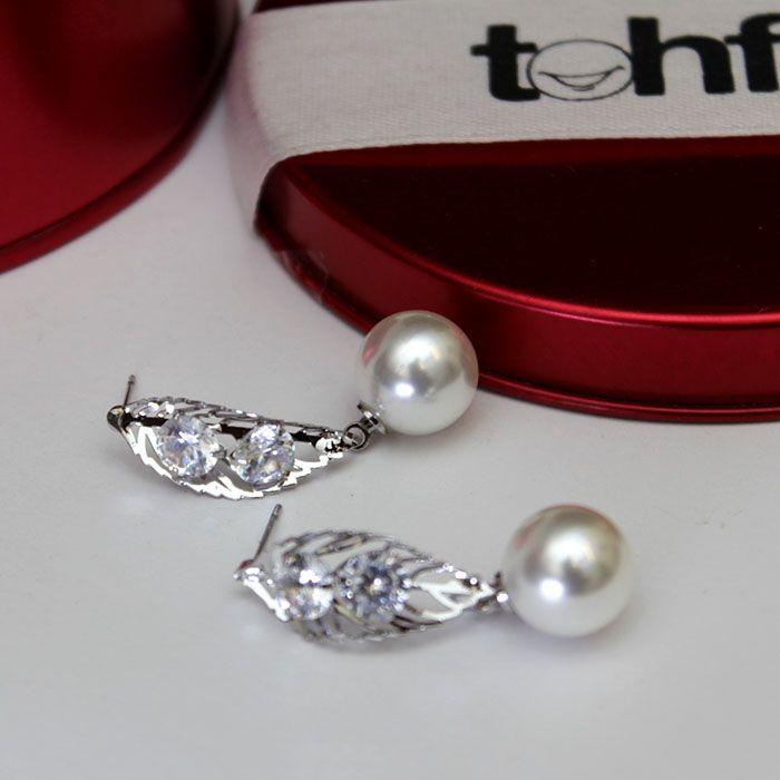 Leafy Stones Pearl Earrings