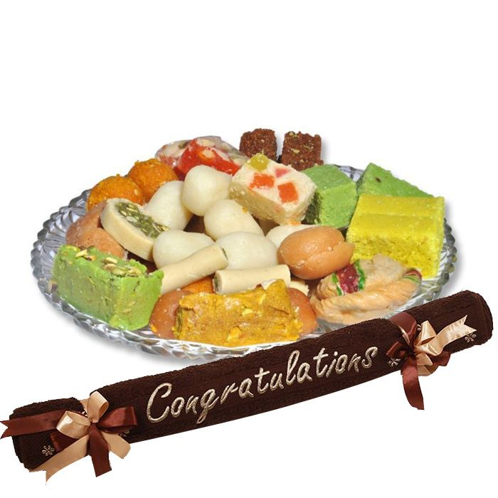 Congratulations Towel with Mithai