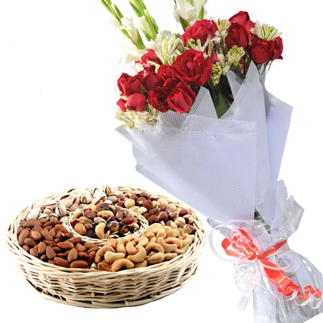Medium Bouquet with Dry Fruit Basket