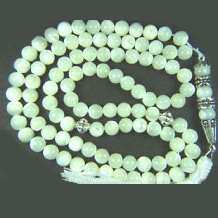 Tasbeeh - Prayer Beads - Light Green & White