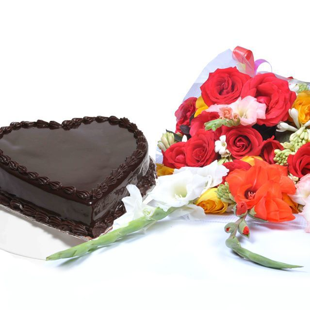 Chocolate Heart Cake with Bouquet