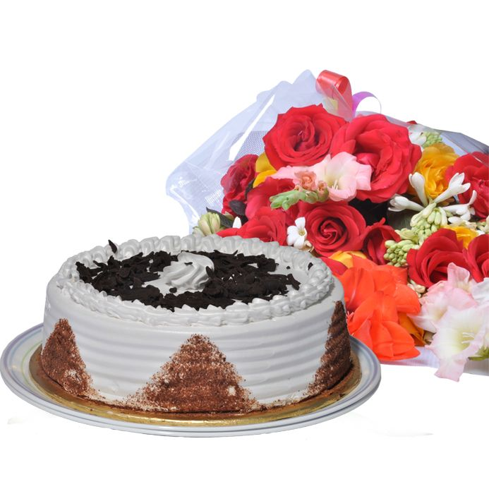 Black Forest Vanilla Cake 2lbs with Medium Bo