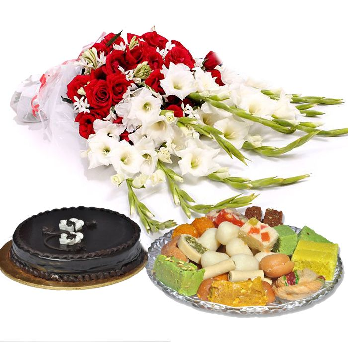 Bouquet with Cake & Mithai