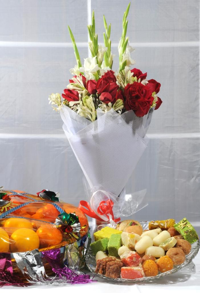 Fruits, Bouquet and Mithai