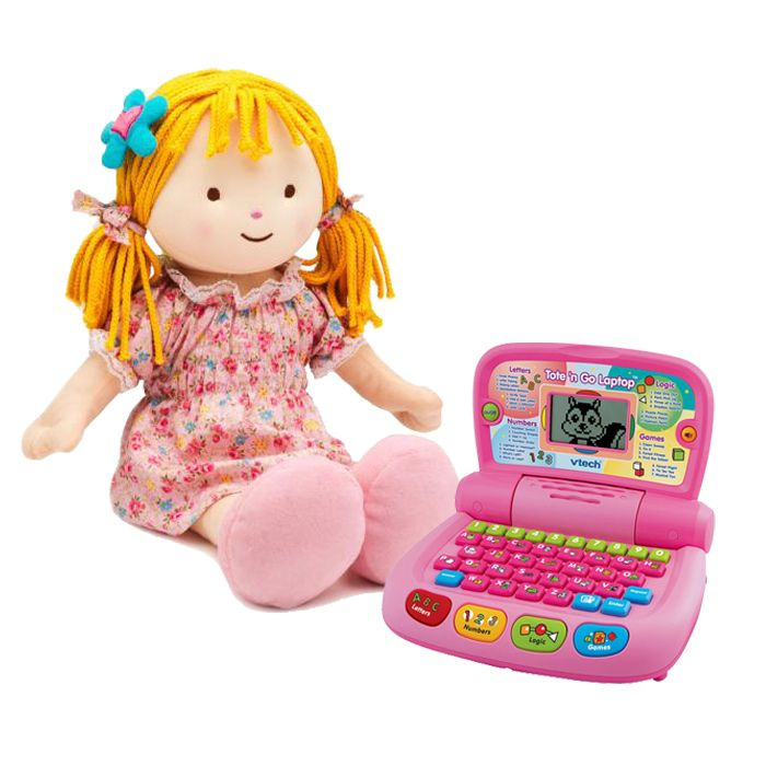 Stuff Doll with a Laptop