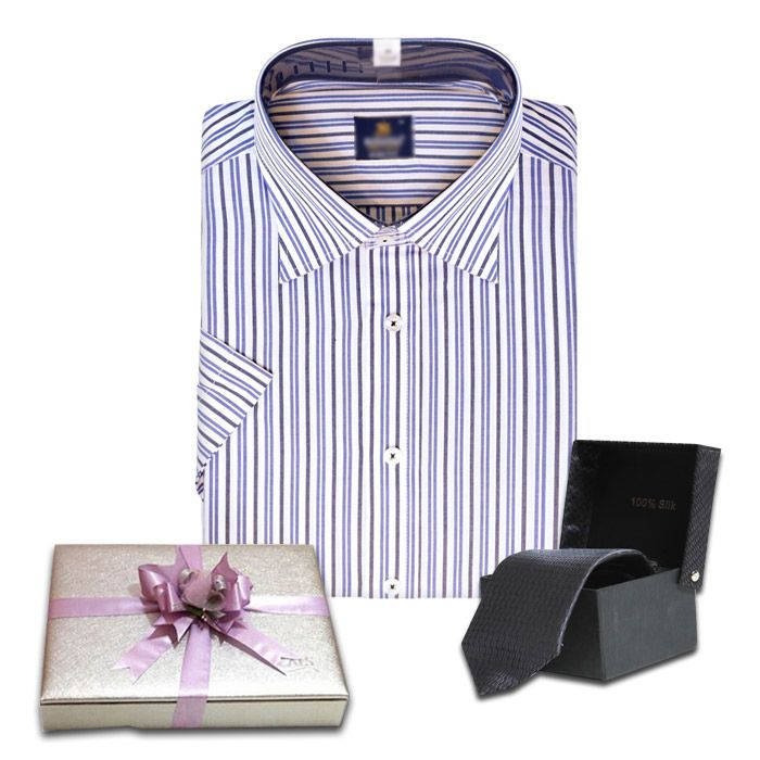 Shirt with Tie and Lal's Silver Chocolate Box