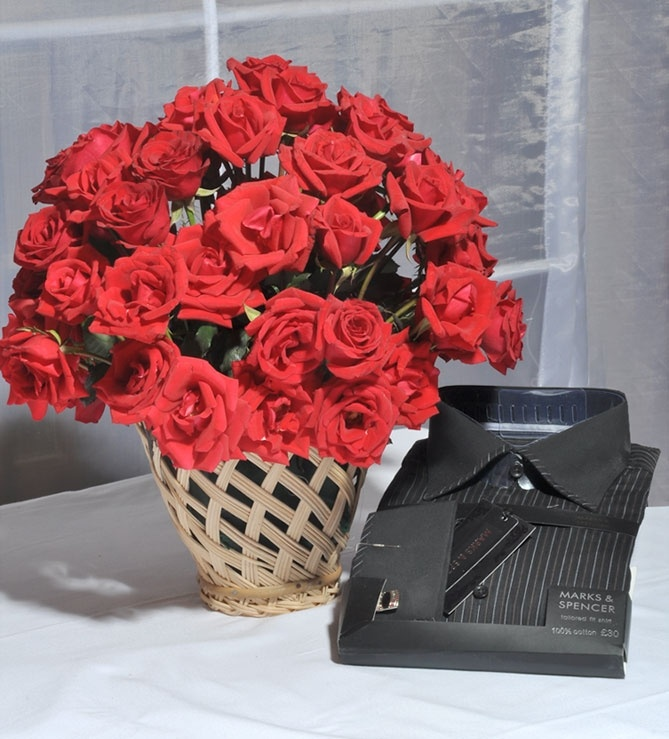 Roses In A Cane Vase With Shirt