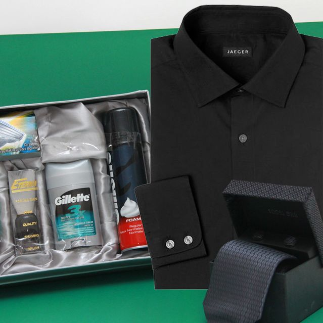Shirt And Tie With Shaving Kit