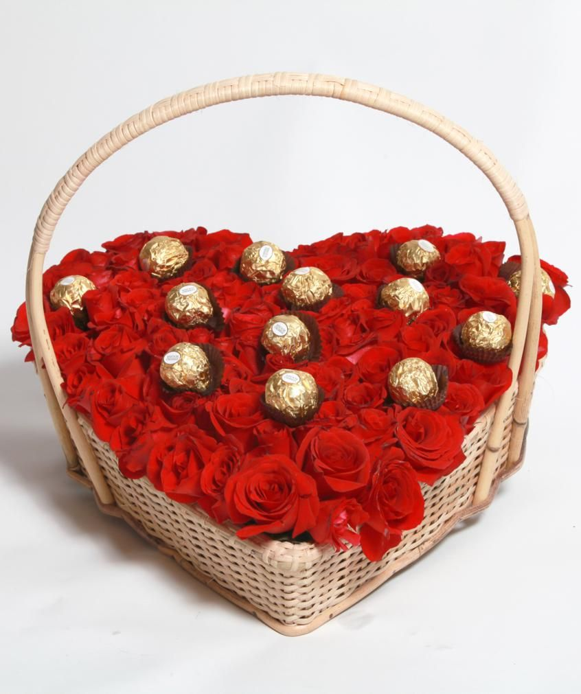 Rose And Ferrero Heart Basket