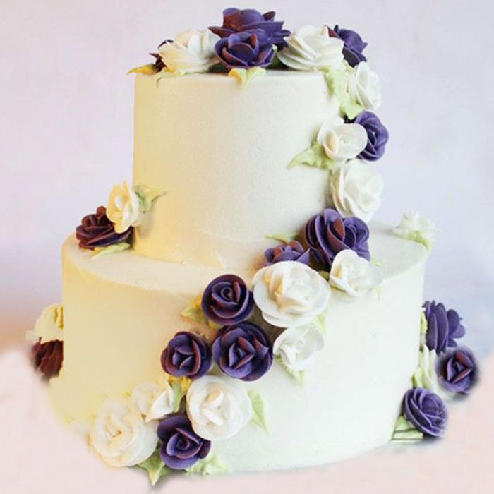 White and purple roses cake 6lbs From Kitchen