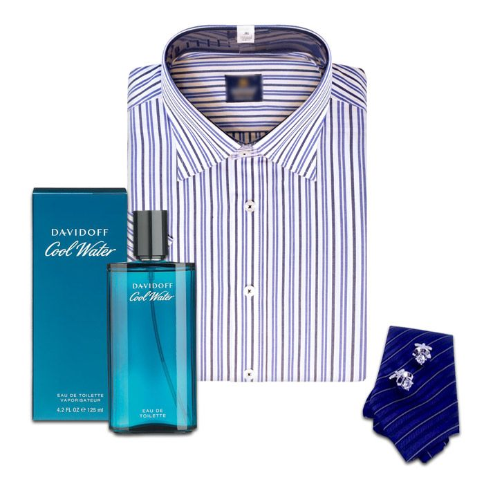 Tie, Shirt with Cufflinks and Perfume