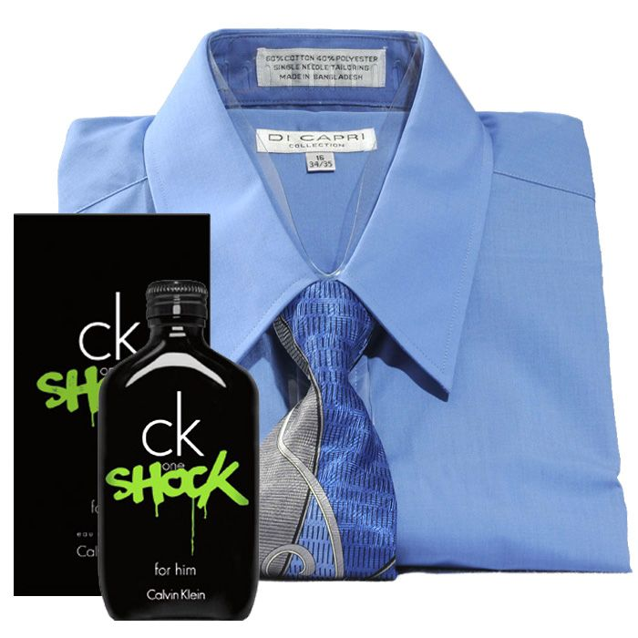 Blue Shirt with Tie and CK Perfume