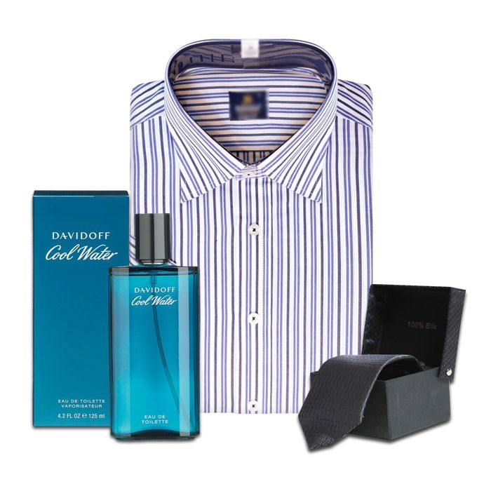 Shirt with Tie and Perfume